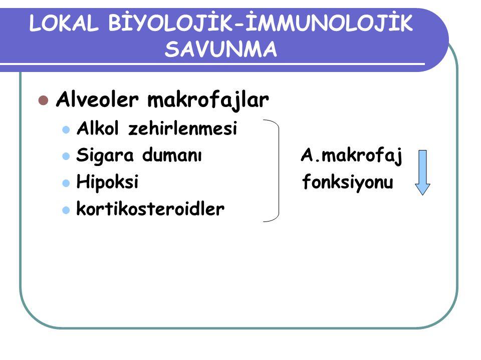 LOKAL BİYOLOJİK-İMMUNOLOJİK SAVUNMA Alveoler makrofajlar Alkol zehirlenmesi Sigara dumanı A.makrofaj Hipoksi fonksiyonu kortikosteroidler