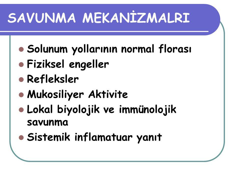 LOKAL BİYOLOJİK-İMMUNOLOJİK SAVUNMA Kompleman komponentleri MO tahribi Ig A Nazal sekresyonlar Submukozal plazma hücreleri Ig G Alveoler düzeyde