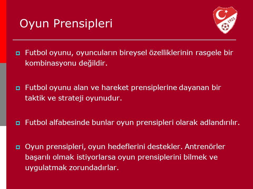  Futbol oyunu, oyuncuların bireysel özelliklerinin rasgele bir kombinasyonu değildir.  Futbol oyunu alan ve hareket prensiplerine dayanan bir taktik