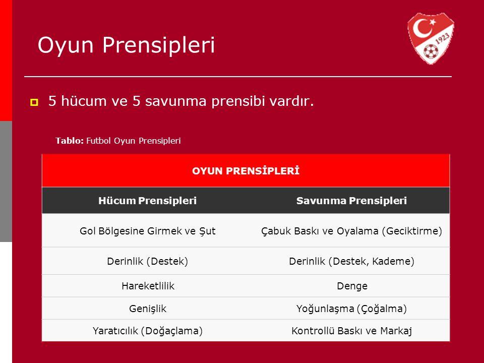  5 hücum ve 5 savunma prensibi vardır. Oyun Prensipleri Tablo: Futbol Oyun Prensipleri OYUN PRENSİPLERİ Hücum PrensipleriSavunma Prensipleri Gol Bölg