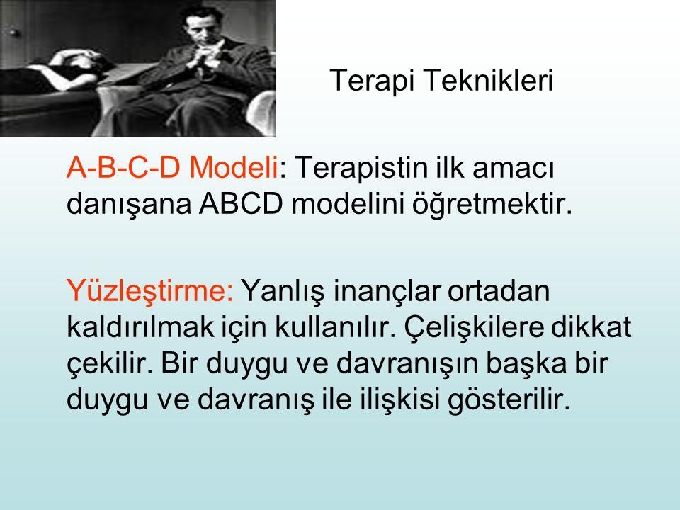 Terapi Teknikleri A-B-C-D Modeli: Terapistin ilk amacı danışana ABCD modelini öğretmektir. Yüzleştirme: Yanlış inançlar ortadan kaldırılmak için kulla