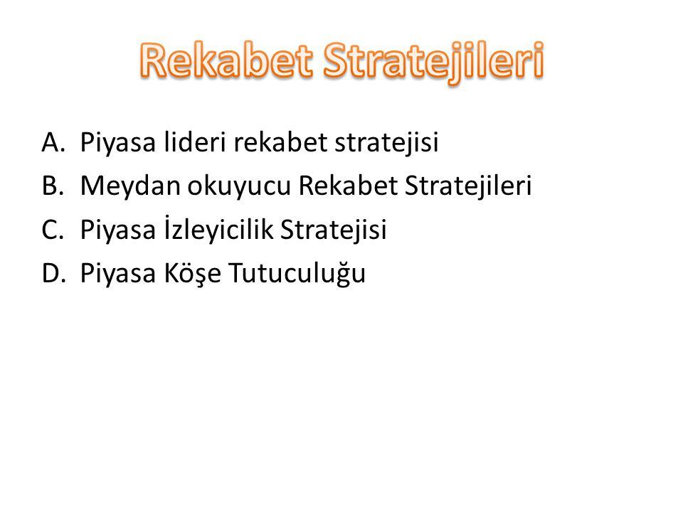A.Piyasa lideri rekabet stratejisi B.Meydan okuyucu Rekabet Stratejileri C.Piyasa İzleyicilik Stratejisi D.Piyasa Köşe Tutuculuğu