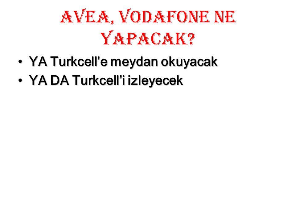 AVEA, Vodafone ne yapacak? YA Turkcell'e meydan okuyacakYA Turkcell'e meydan okuyacak YA DA Turkcell'i izleyecekYA DA Turkcell'i izleyecek