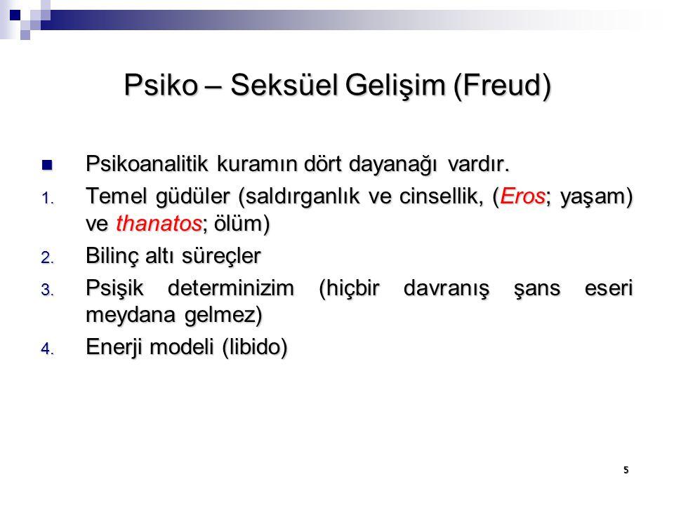 5 Psiko – Seksüel Gelişim (Freud) Psikoanalitik kuramın dört dayanağı vardır. Psikoanalitik kuramın dört dayanağı vardır. 1. Temel güdüler (saldırganl