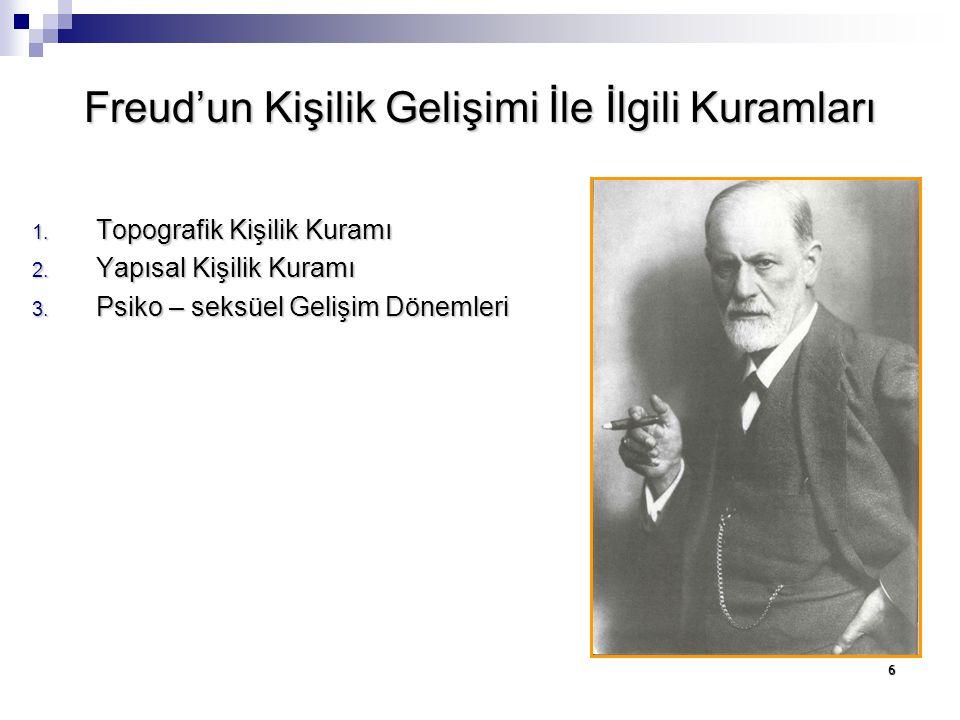 6 Freud'un Kişilik Gelişimi İle İlgili Kuramları 1. Topografik Kişilik Kuramı 2. Yapısal Kişilik Kuramı 3. Psiko – seksüel Gelişim Dönemleri