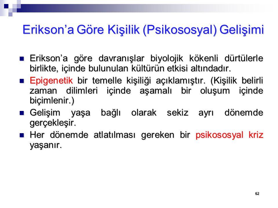 62 Erikson'a Göre Kişilik (Psikososyal) Gelişimi Erikson'a göre davranışlar biyolojik kökenli dürtülerle birlikte, içinde bulunulan kültürün etkisi al