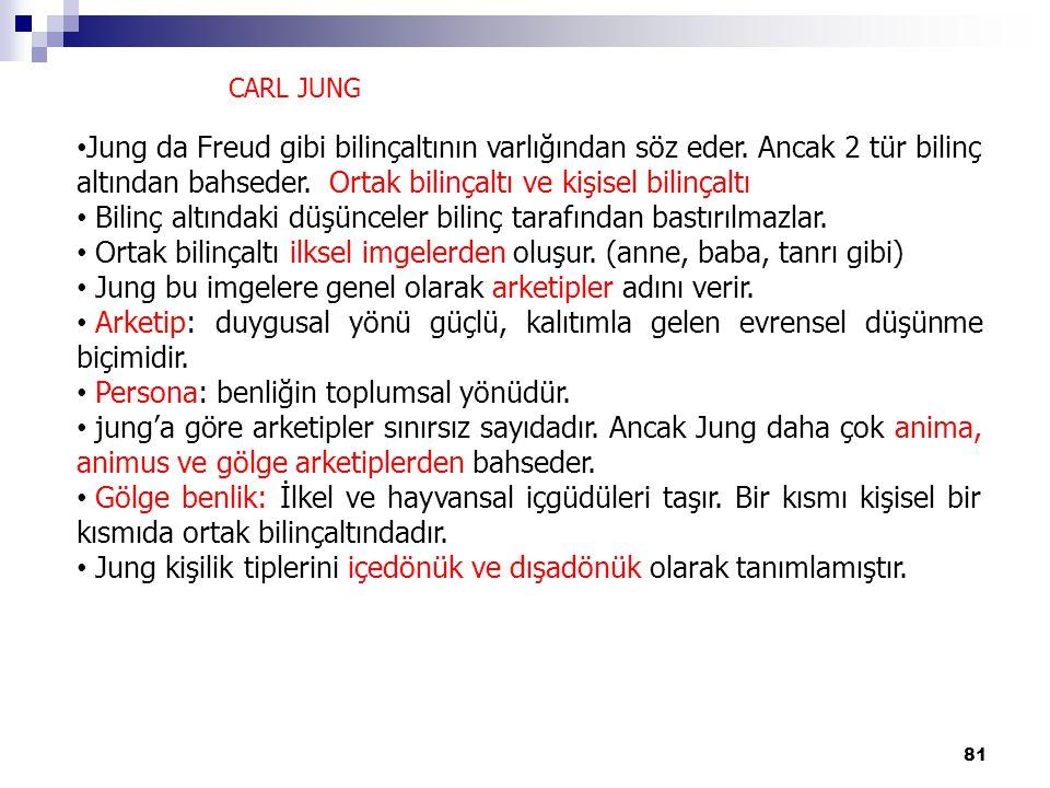 81 CARL JUNG Jung da Freud gibi bilinçaltının varlığından söz eder. Ancak 2 tür bilinç altından bahseder. Ortak bilinçaltı ve kişisel bilinçaltı Bilin