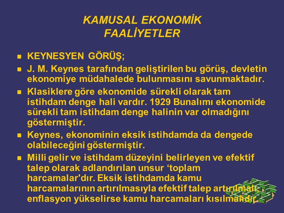 KAMUSAL EKONOMİK FAALİYETLER KEYNESYEN GÖRÜŞ; J. M.