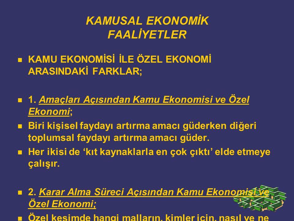 KAMUSAL EKONOMİK FAALİYETLER KAMU EKONOMİSİ İLE ÖZEL EKONOMİ ARASINDAKİ FARKLAR; 1.