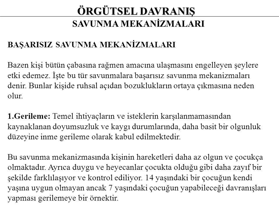ÖRGÜTSEL DAVRANIŞ SAVUNMA MEKANİZMALARI 4.