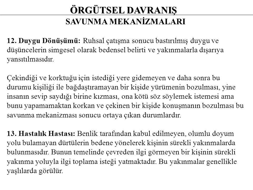 ÖRGÜTSEL DAVRANIŞ SAVUNMA MEKANİZMALARI 8.
