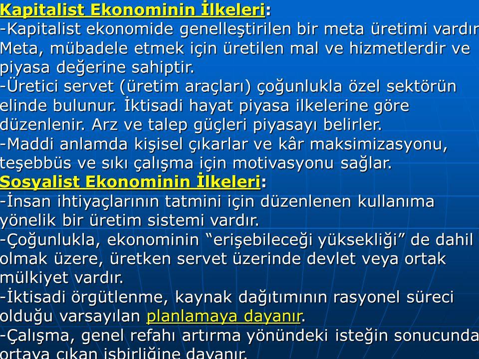 Kapitalist Ekonominin İlkeleri: -Kapitalist ekonomide genelleştirilen bir meta üretimi vardır. Meta, mübadele etmek için üretilen mal ve hizmetlerdir