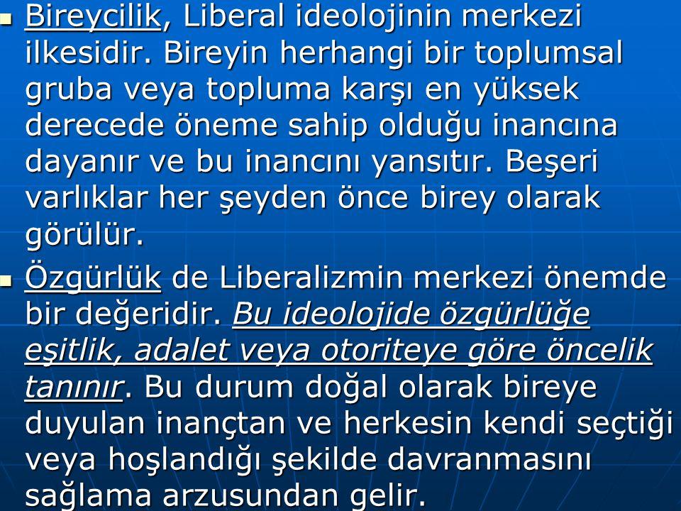 Bireycilik, Liberal ideolojinin merkezi ilkesidir. Bireyin herhangi bir toplumsal gruba veya topluma karşı en yüksek derecede öneme sahip olduğu inanc