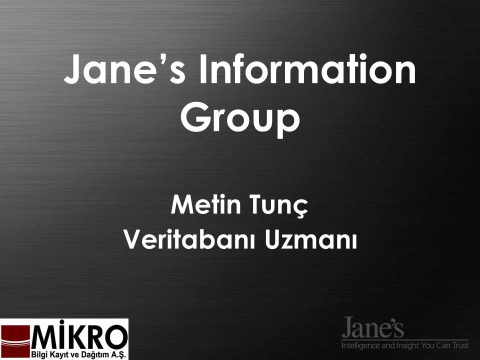 Giriş Jane's Portföyü Erişim/Sağlama Biçimleri Jane's Uzmanlığı Sorular & Canlı Demo AJANDA