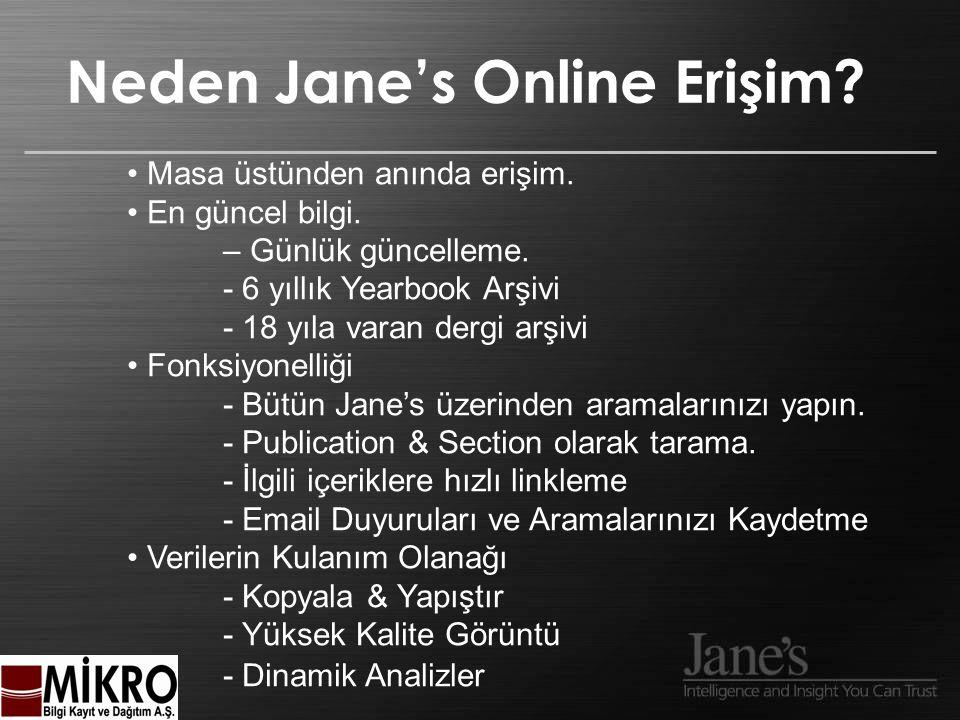 Neden Jane's Online Erişim. Masa üstünden anında erişim.