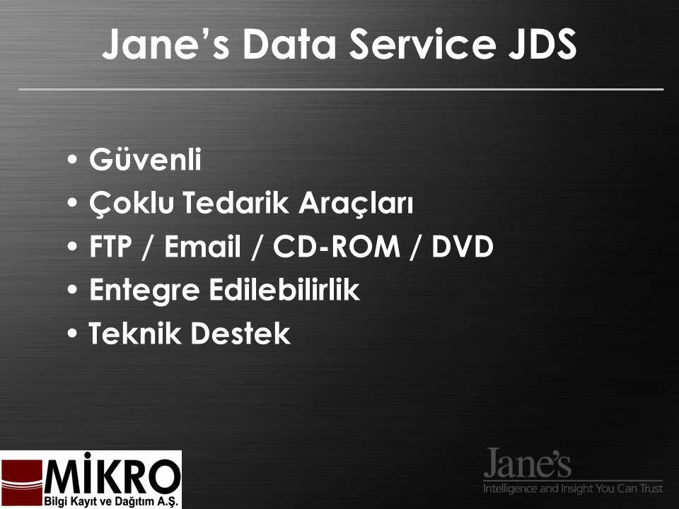 Jane's Data Service JDS Güvenli Çoklu Tedarik Araçları FTP / Email / CD-ROM / DVD Entegre Edilebilirlik Teknik Destek