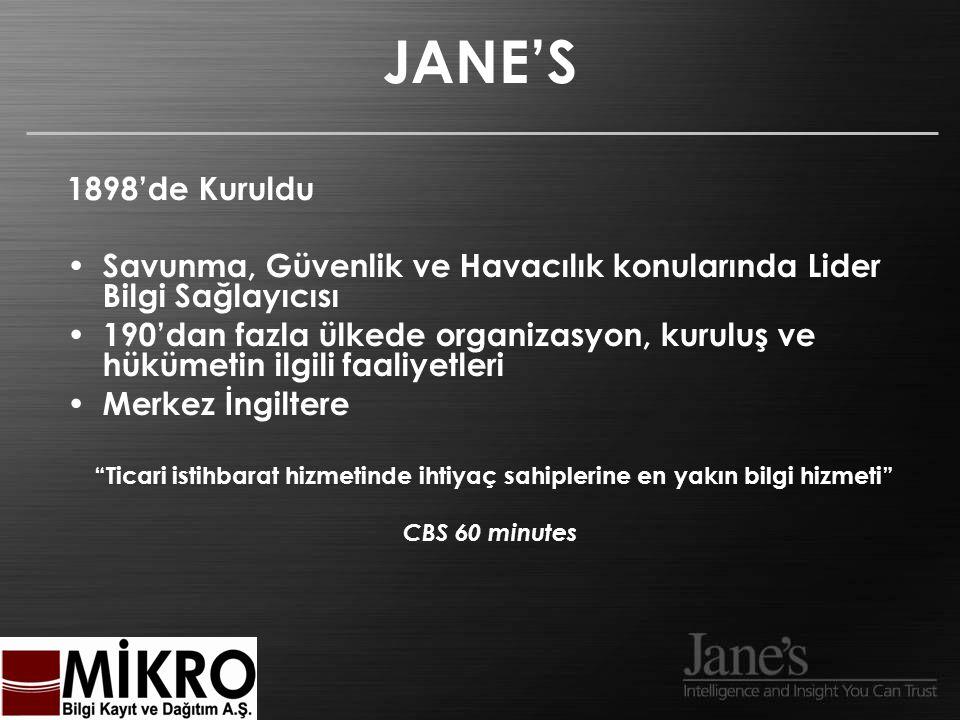 Erişim Biçimleri On-line http://www.janes.com Jane's Data Service HTML / XML / EIS CD-ROM/ DVD-ROM Basılı Ortam