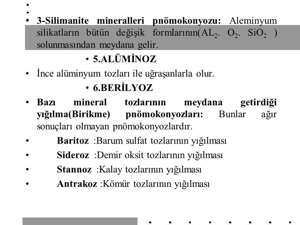 3-Silimanite mineralleri pnömokonyozu: Aleminyum silikatların bütün değişik formlarının(AL 2. O 2. SiO 2 ) solunmasından meydana gelir. 5.ALÜMİNOZ İnc