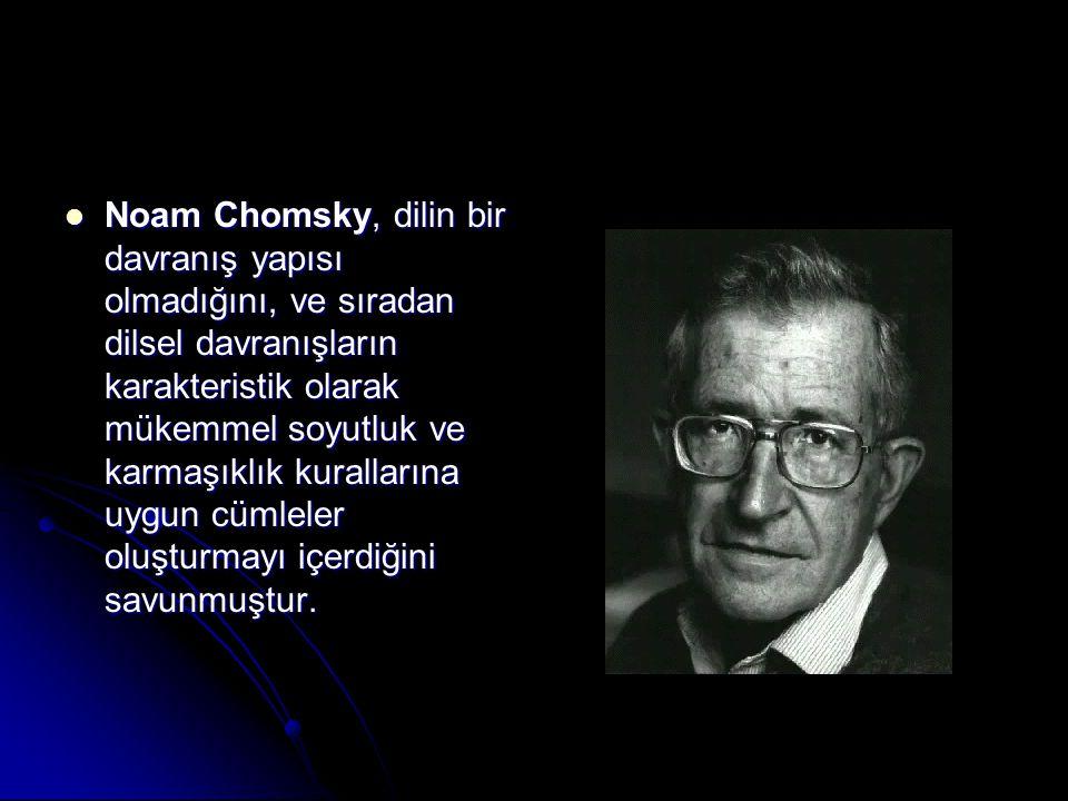 Noam Chomsky, dilin bir davranış yapısı olmadığını, ve sıradan dilsel davranışların karakteristik olarak mükemmel soyutluk ve karmaşıklık kurallarına