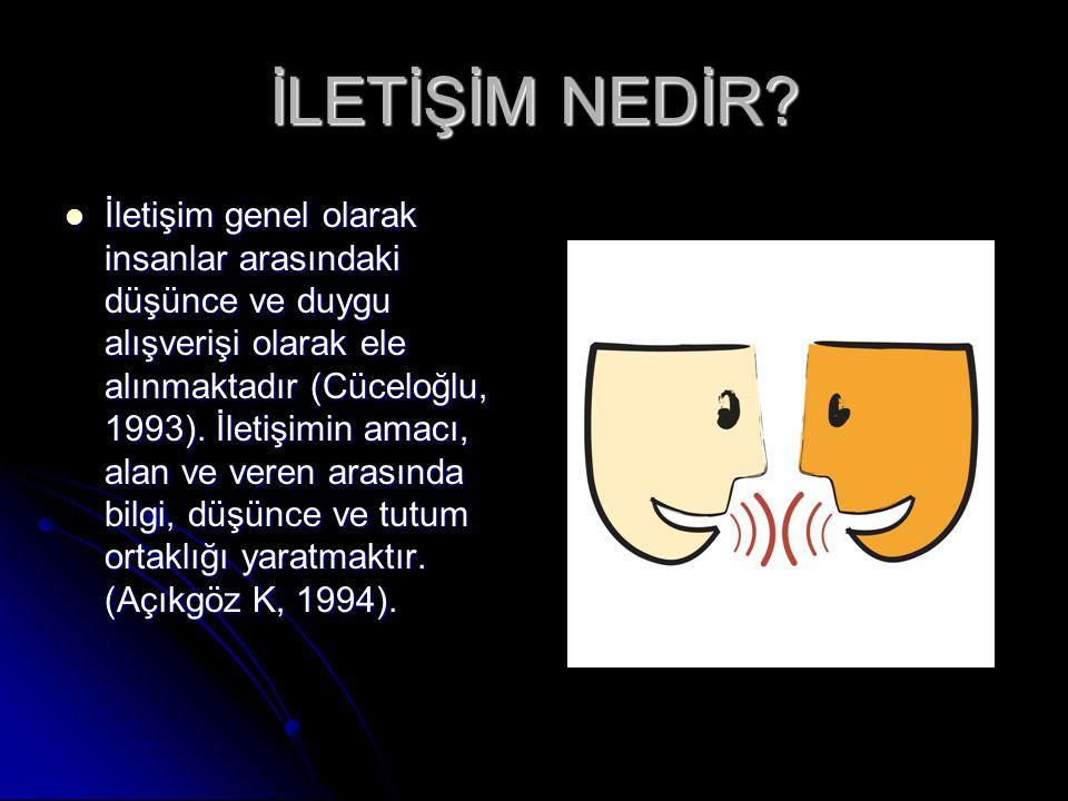 İLETİŞİM NEDİR? İletişim genel olarak insanlar arasındaki düşünce ve duygu alışverişi olarak ele alınmaktadır (Cüceloğlu, 1993). İletişimin amacı, ala