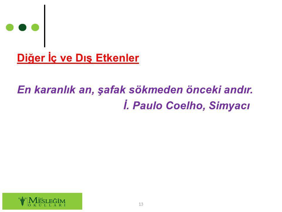 Diğer İç ve Dış Etkenler En karanlık an, şafak sökmeden önceki andır. İ. Paulo Coelho, Simyacı 13
