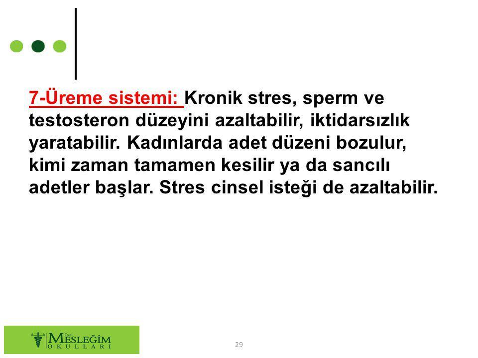 7-Üreme sistemi: Kronik stres, sperm ve testosteron düzeyini azaltabilir, iktidarsızlık yaratabilir. Kadınlarda adet düzeni bozulur, kimi zaman tamame