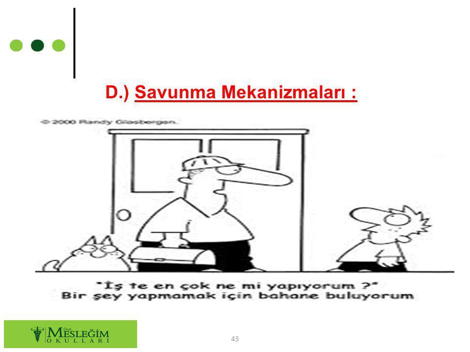 D.) Savunma Mekanizmaları : 43