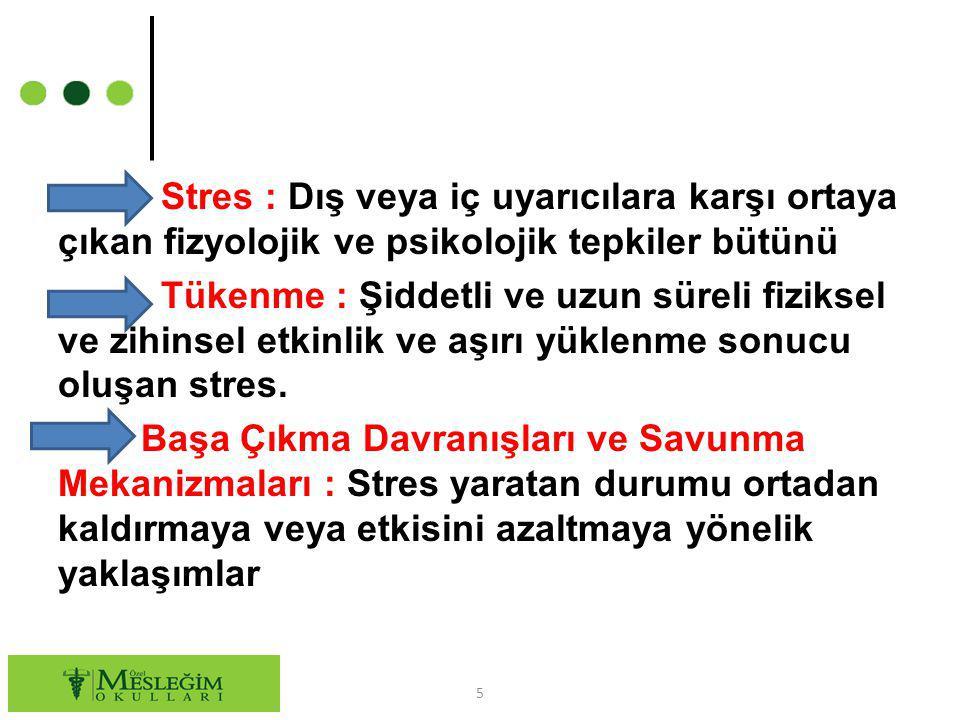 Stres : Dış veya iç uyarıcılara karşı ortaya çıkan fizyolojik ve psikolojik tepkiler bütünü Tükenme : Şiddetli ve uzun süreli fiziksel ve zihinsel etk