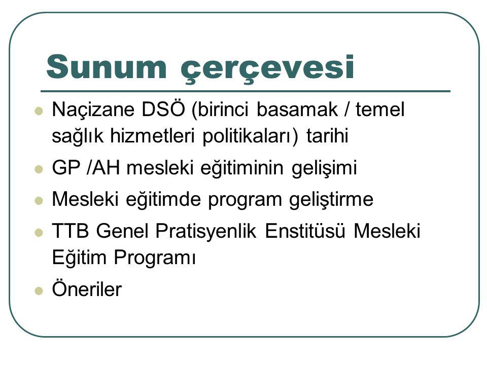 Sunum çerçevesi Naçizane DSÖ (birinci basamak / temel sağlık hizmetleri politikaları) tarihi GP /AH mesleki eğitiminin gelişimi Mesleki eğitimde progr