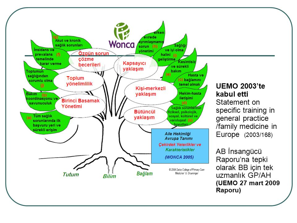 UEMO 2003'te kabul etti Statement on specific training in general practice /family medicine in Europe (2003/168) AB İnsangücü Raporu'na tepki olarak BB için tek uzmanlık GP/AH (UEMO 27 mart 2009 Raporu)