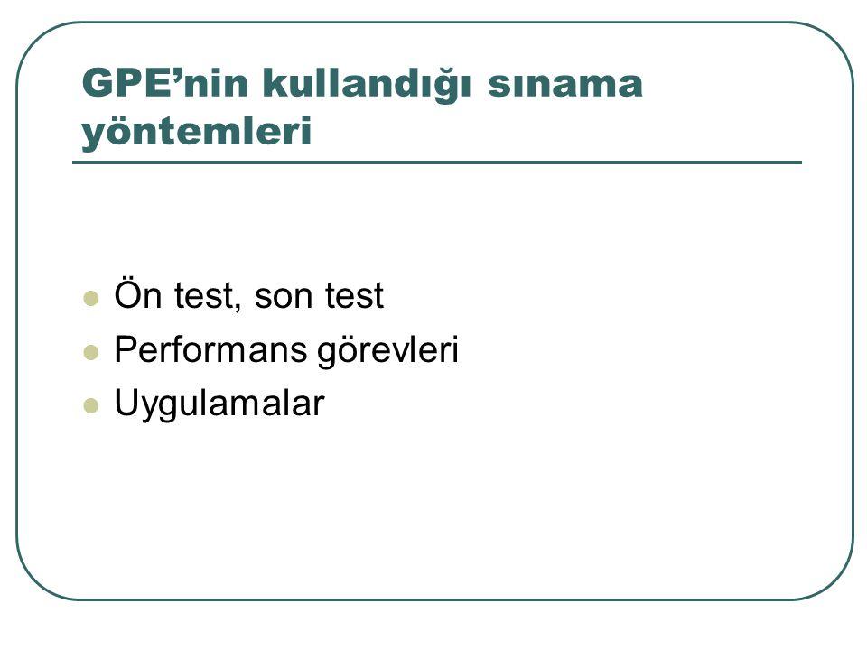 GPE'nin kullandığı sınama yöntemleri Ön test, son test Performans görevleri Uygulamalar