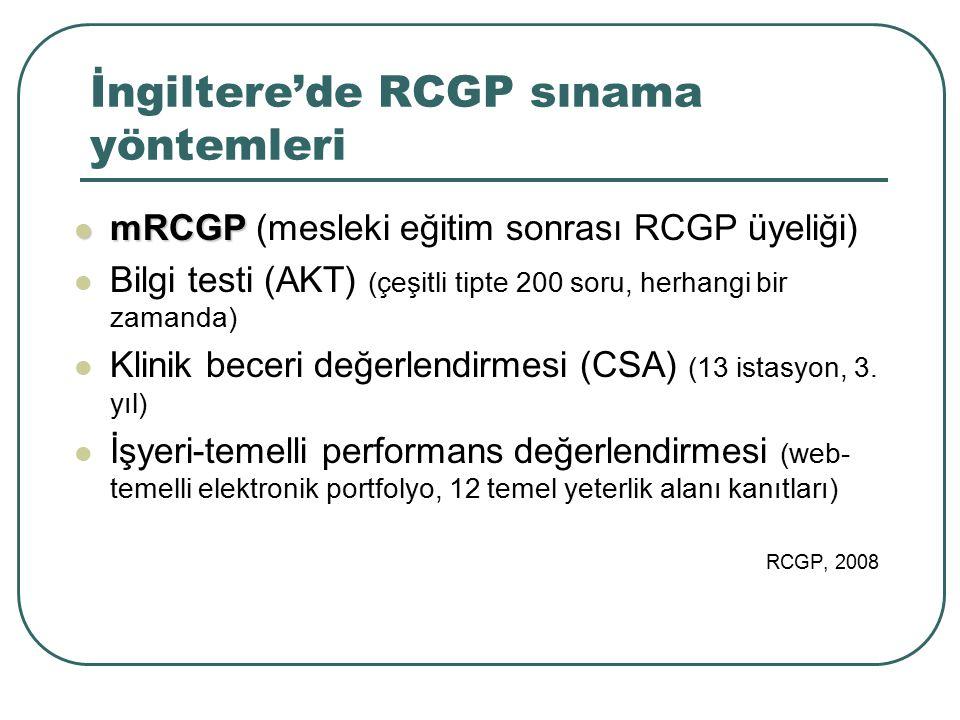 İngiltere'de RCGP sınama yöntemleri mRCGP mRCGP (mesleki eğitim sonrası RCGP üyeliği) Bilgi testi (AKT) (çeşitli tipte 200 soru, herhangi bir zamanda)