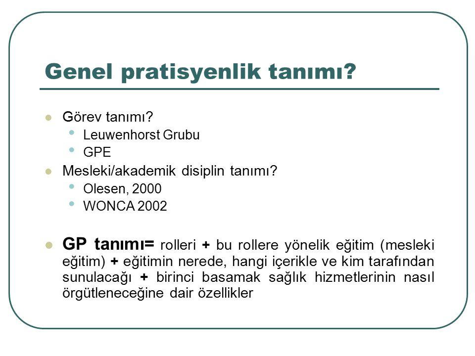GP Mesleki eğitimi ile ilgili sorunlar