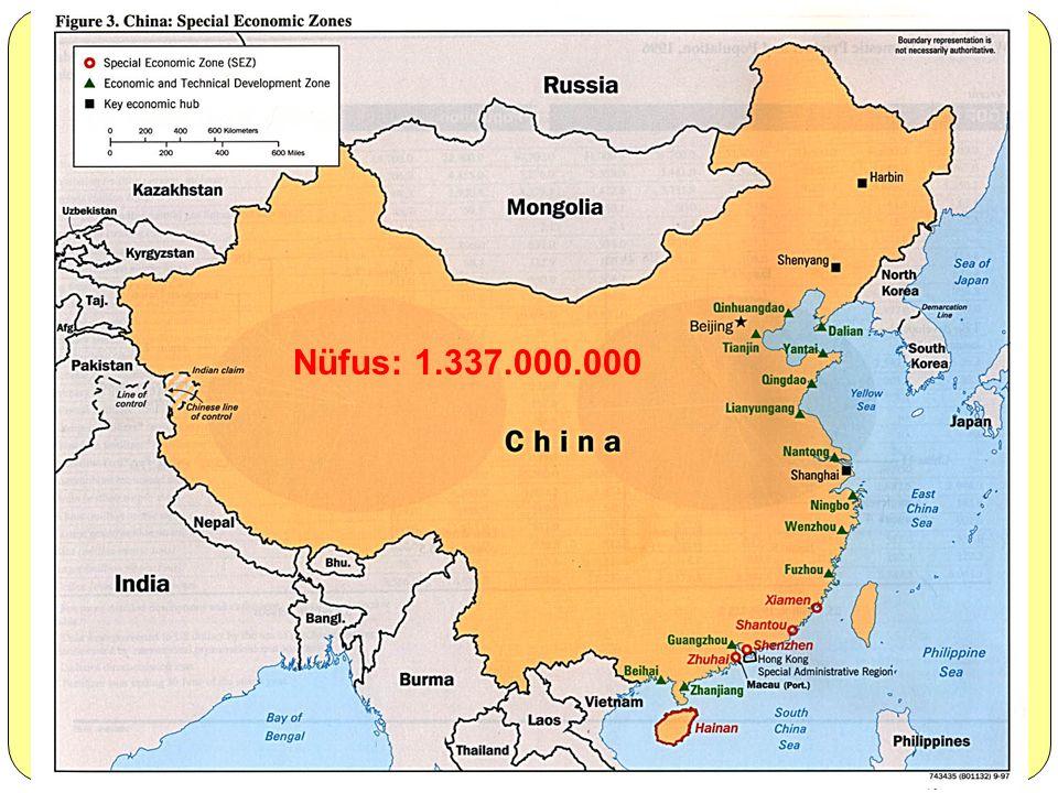 Çin: 9.326.410 kilometre kare karasal alana sahiptir. Rusya, Kanada ve ABD'den sonra dünyanın en büyük yüzölçümüne sahip dördüncü ülkesidir. Asyanın d