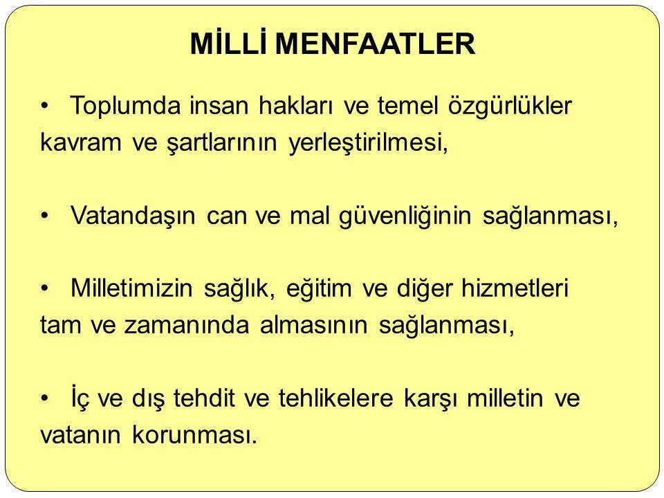 Hâkimiyetin kayıtsız şartsız millete ait olması, Devletin ve milletin bölünmez bütünlüğü, Atatürk İlke ve İnkılaplarının bir hayat tarzı olarak benims