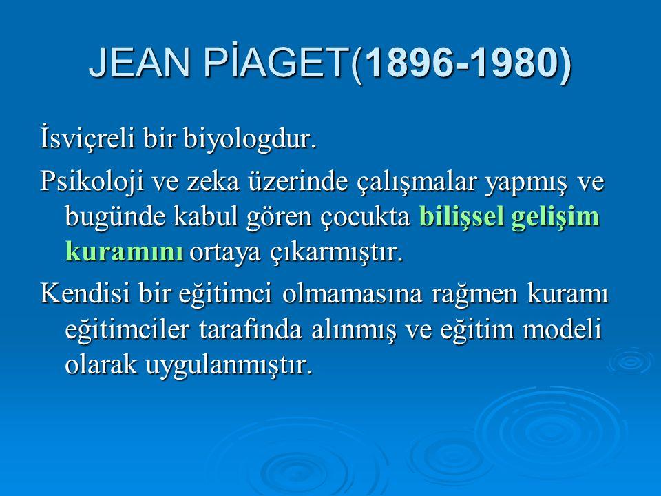 JEAN PİAGET(1896-1980) İsviçreli bir biyologdur.