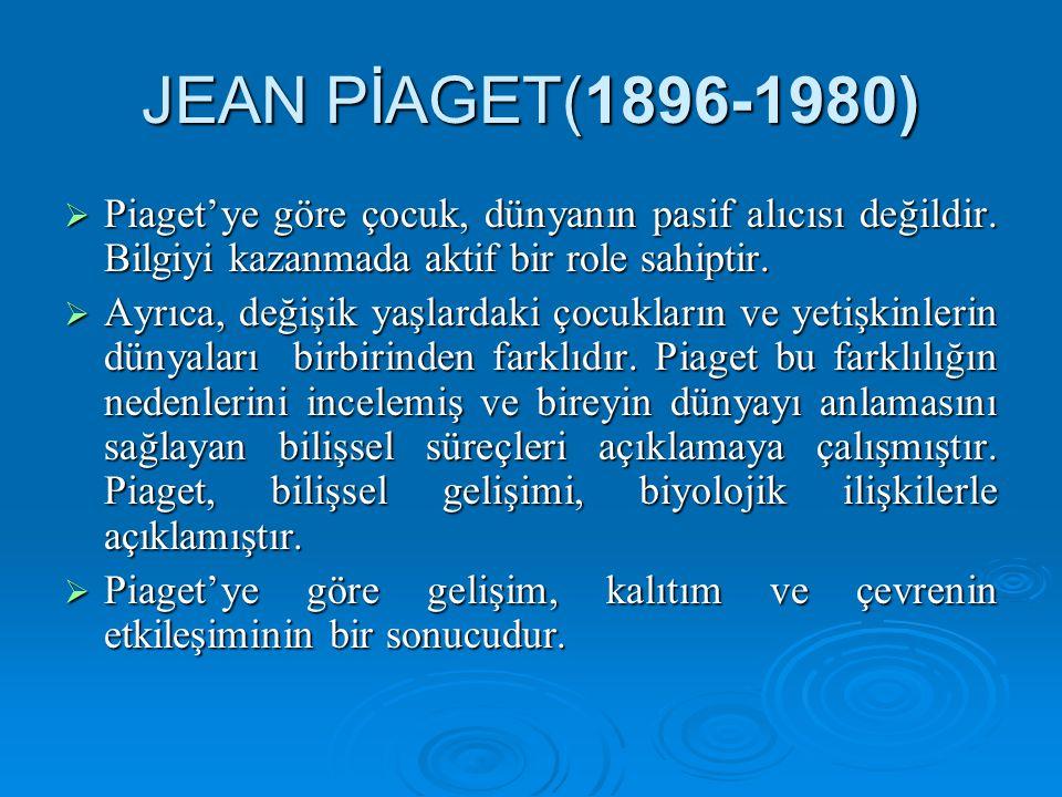JEAN PİAGET(1896-1980)  Piaget'ye göre çocuk, dünyanın pasif alıcısı değildir.
