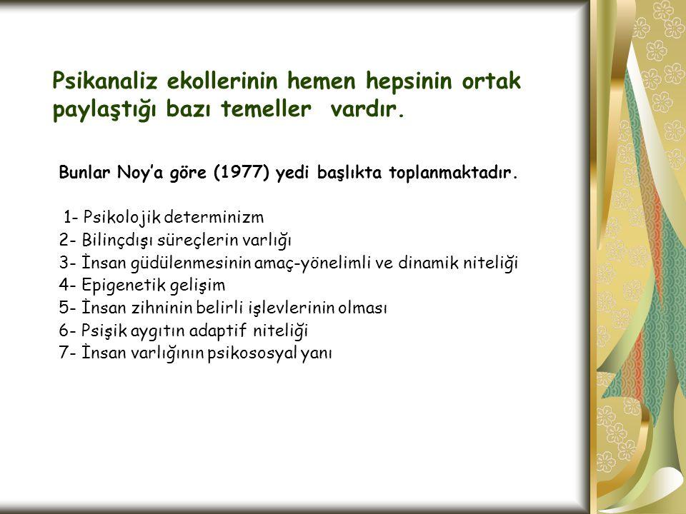 Psikanaliz ekollerinin hemen hepsinin ortak paylaştığı bazı temeller vardır. Bunlar Noy'a göre (1977) yedi başlıkta toplanmaktadır. 1- Psikolojik dete