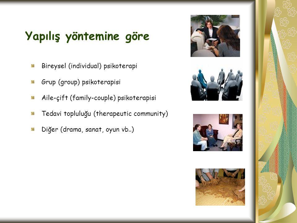 Yapılış yöntemine göre Bireysel (individual) psikoterapi Grup (group) psikoterapisi Aile-çift (family-couple) psikoterapisi Tedavi topluluğu (therapeu