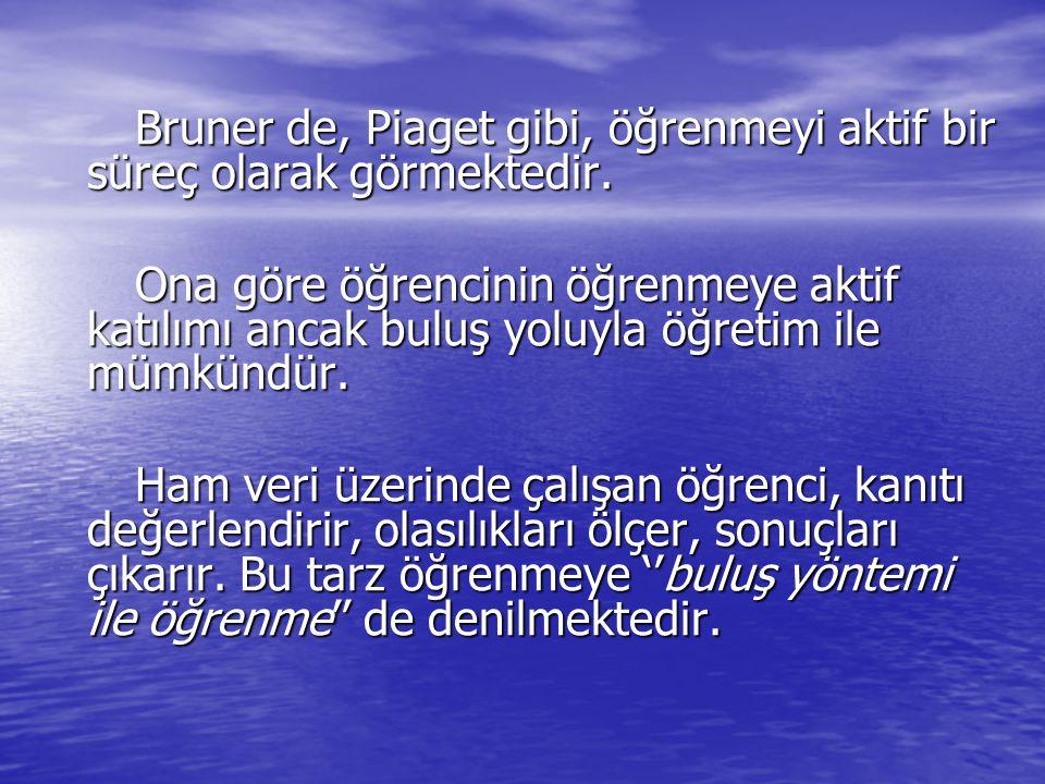 Bruner de, Piaget gibi, öğrenmeyi aktif bir süreç olarak görmektedir. Bruner de, Piaget gibi, öğrenmeyi aktif bir süreç olarak görmektedir. Ona göre ö