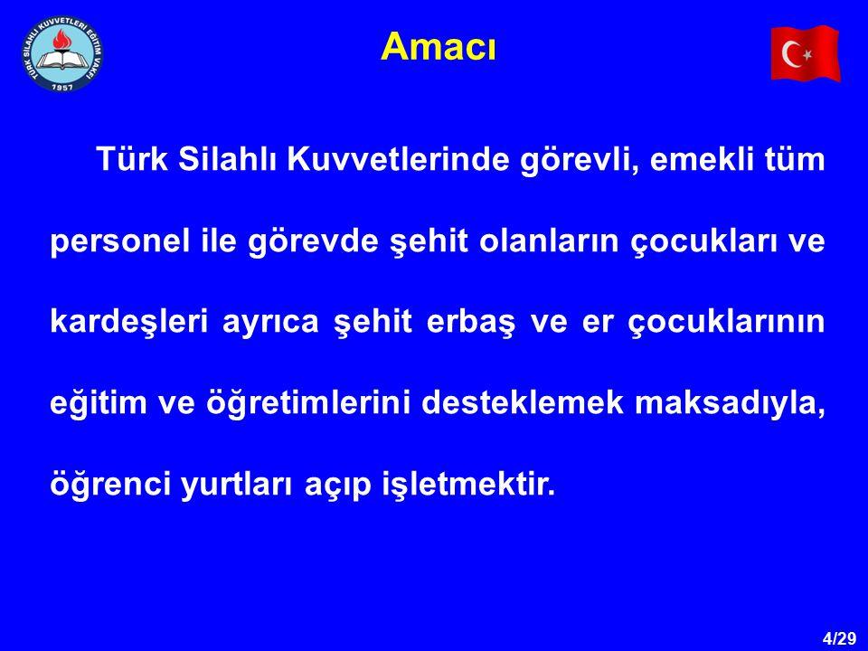 4/29 Amacı Türk Silahlı Kuvvetlerinde görevli, emekli tüm personel ile görevde şehit olanların çocukları ve kardeşleri ayrıca şehit erbaş ve er çocukl