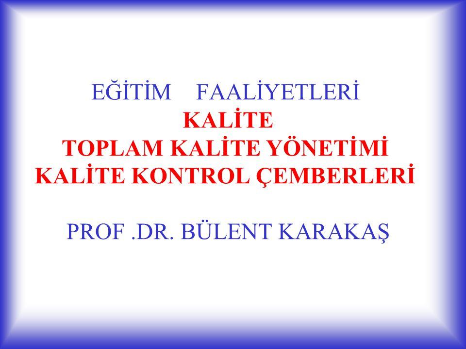 EĞİTİM FAALİYETLERİ KALİTE TOPLAM KALİTE YÖNETİMİ KALİTE KONTROL ÇEMBERLERİ PROF.DR. BÜLENT KARAKAŞ
