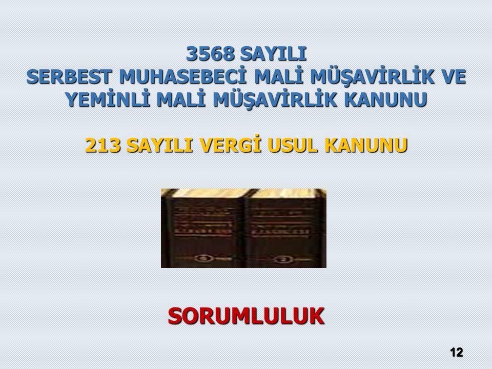 12 3568 SAYILI SERBEST MUHASEBECİ MALİ MÜŞAVİRLİK VE YEMİNLİ MALİ MÜŞAVİRLİK KANUNU 213 SAYILI VERGİ USUL KANUNU SORUMLULUK