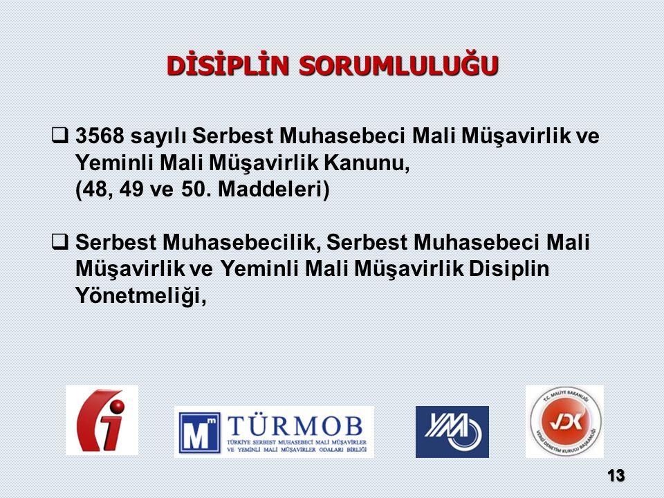   3568 sayılı Serbest Muhasebeci Mali Müşavirlik ve Yeminli Mali Müşavirlik Kanunu, (48, 49 ve 50. Maddeleri)   Serbest Muhasebecilik, Serbest Muh