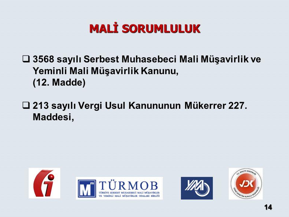   3568 sayılı Serbest Muhasebeci Mali Müşavirlik ve Yeminli Mali Müşavirlik Kanunu, (12. Madde)   213 sayılı Vergi Usul Kanununun Mükerrer 227. Ma
