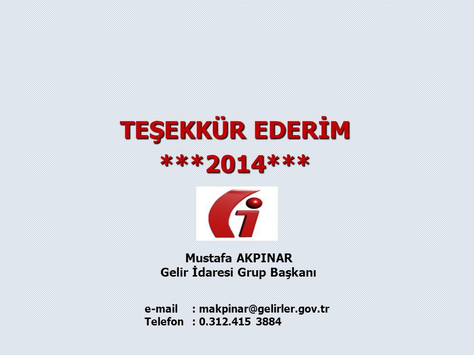 TEŞEKKÜR EDERİM ***2014*** Mustafa AKPINAR Gelir İdaresi Grup Başkanı e-mail: makpinar@gelirler.gov.tr Telefon: 0.312.415 3884