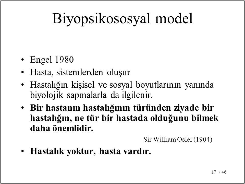 / 4617 Biyopsikososyal model Engel 1980 Hasta, sistemlerden oluşur Hastalığın kişisel ve sosyal boyutlarının yanında biyolojik sapmalarla da ilgilenir