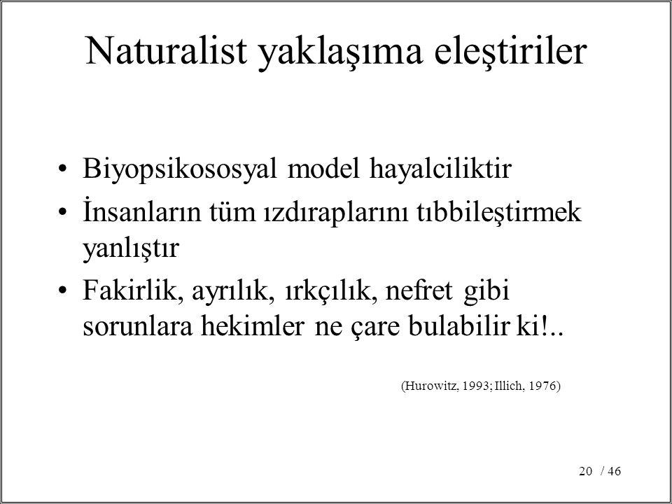 / 4620 Naturalist yaklaşıma eleştiriler Biyopsikososyal model hayalciliktir İnsanların tüm ızdıraplarını tıbbileştirmek yanlıştır Fakirlik, ayrılık, ı