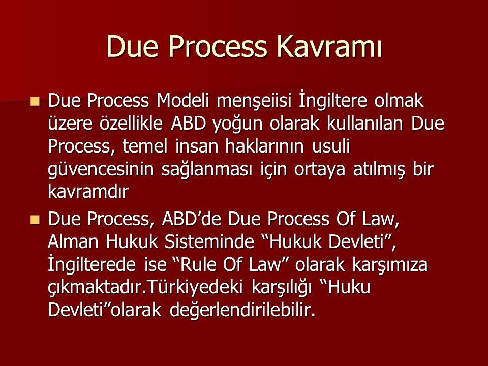 Due Process Kavramı Due Process Modeli menşeiisi İngiltere olmak üzere özellikle ABD yoğun olarak kullanılan Due Process, temel insan haklarının usuli