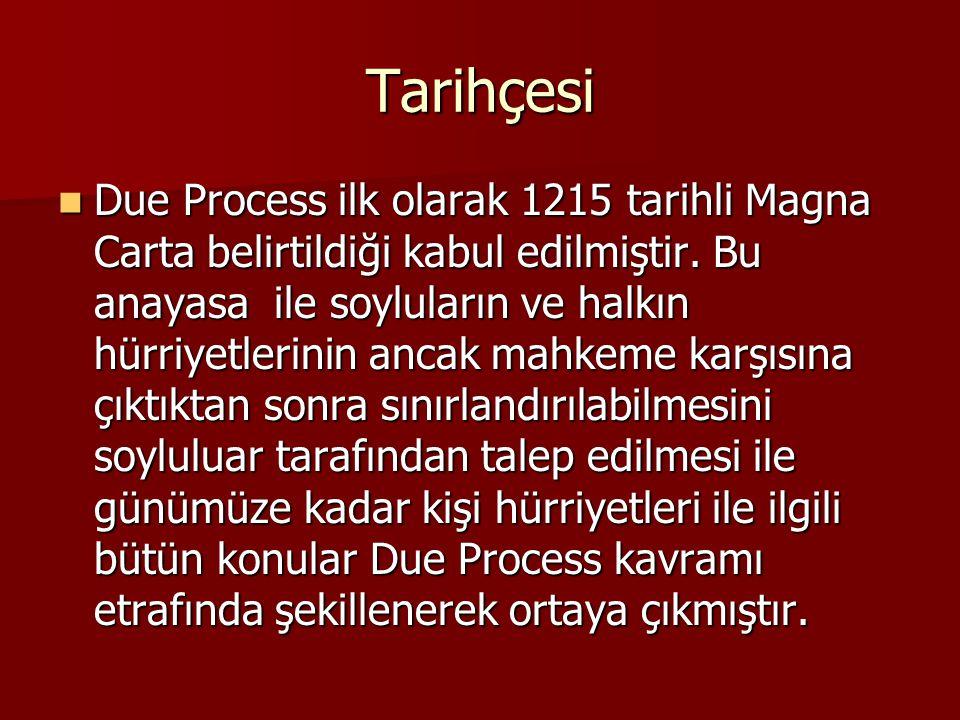 Tarihçesi Due Process ilk olarak 1215 tarihli Magna Carta belirtildiği kabul edilmiştir. Bu anayasa ile soyluların ve halkın hürriyetlerinin ancak mah